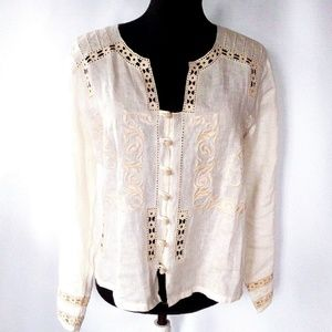 J Jill linen crochet ed and embroidered shirt